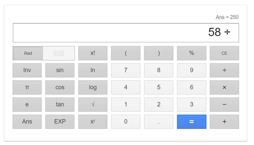 Интерфейс калькулятора Google